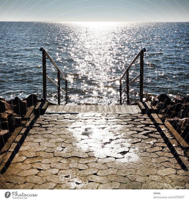Open all year Relaxation Swimming & Bathing Vacation & Travel Ocean Waves Water Coast North Sea Stairs Glittering Wet Pavement Paving stone Handrail Banister