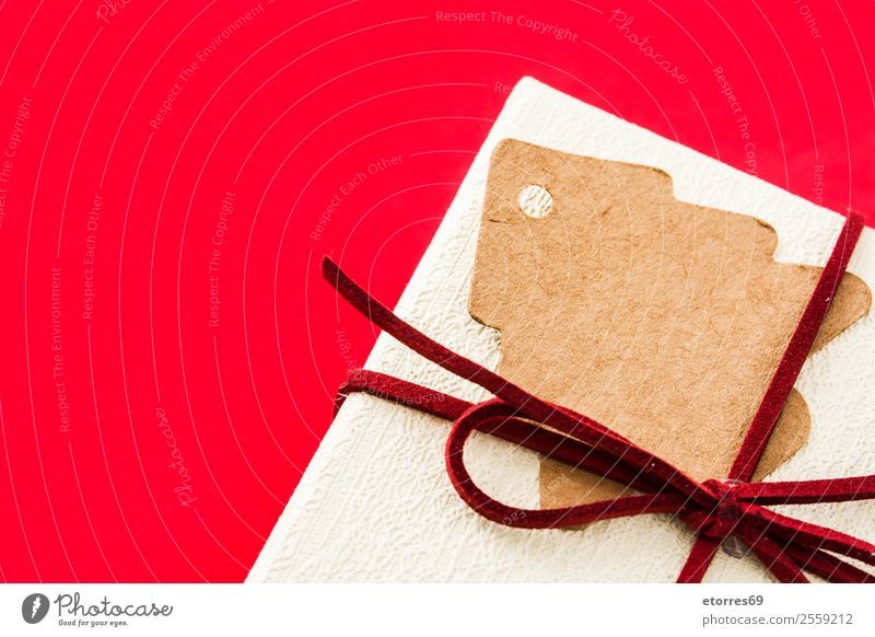 White gift box on red background. Top view Gift Christmas & Advent Box Carton Red Neutral Background String Feasts & Celebrations Birthday Mother's Day