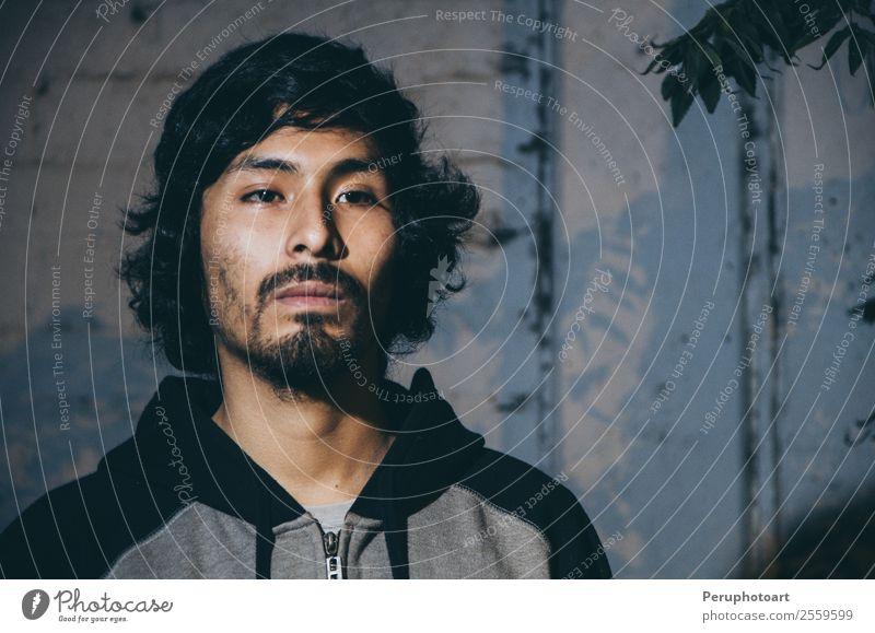 Portrait of young man with beard wearing shirt Skin Face Business Camera Human being Man Adults Forest Fashion Shirt Beard Sadness Dark Blue Gray Moody