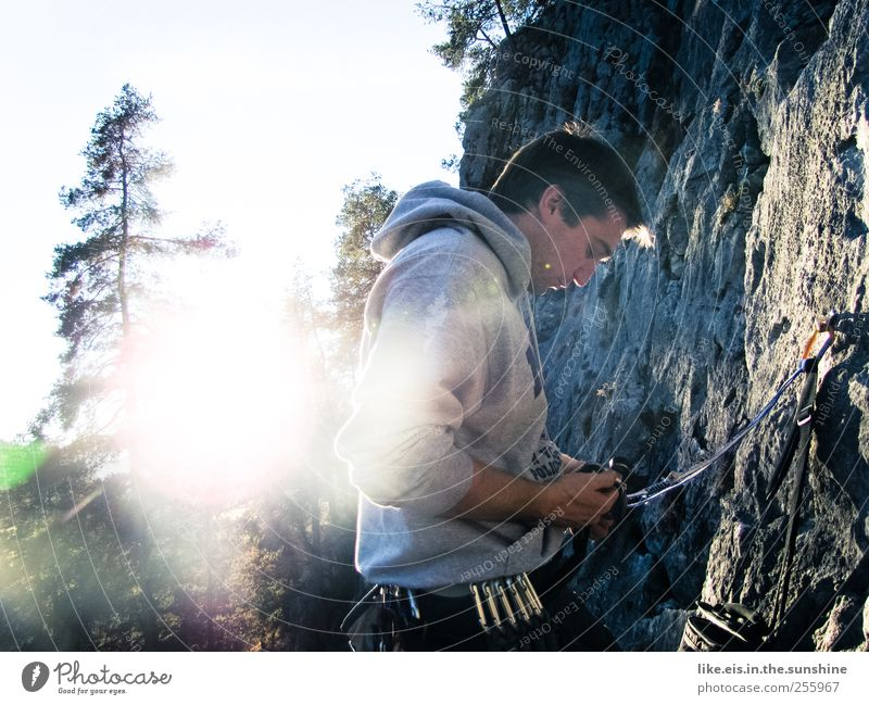 Human being Youth (Young adults) Sun Relaxation Landscape Young man 18 - 30 years Adults Cold Mountain Life Sports Autumn Rock Leisure and hobbies Masculine