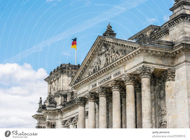 Reichstag (Bundestag) in Berlin Vacation & Travel Tourism Trip Summer Summer vacation Sky Clouds Beautiful weather Town Capital city Downtown Old town