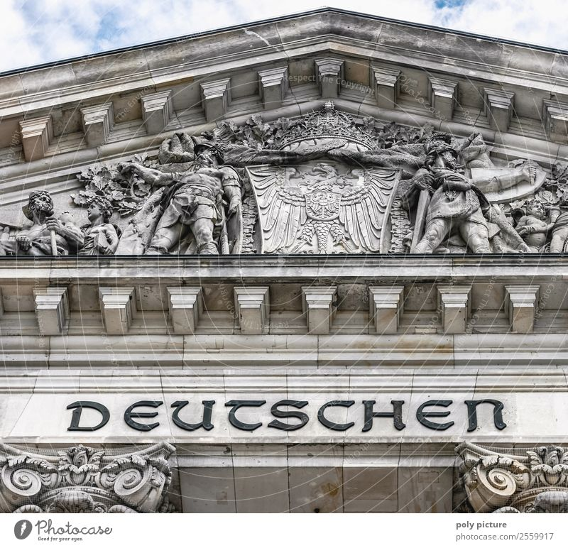"""""""The German People"""" - Reichstag Berlin Tourism Freedom Sightseeing City trip Summer vacation Town Capital city Downtown Old town Manmade structures Building"""