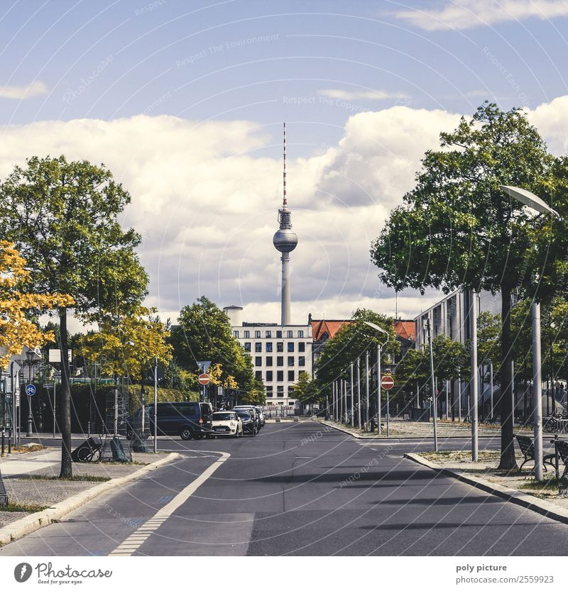 Berlin government district with a view of the television tower Weather Beautiful weather Capital city Downtown Antenna Tourist Attraction Landmark Identity