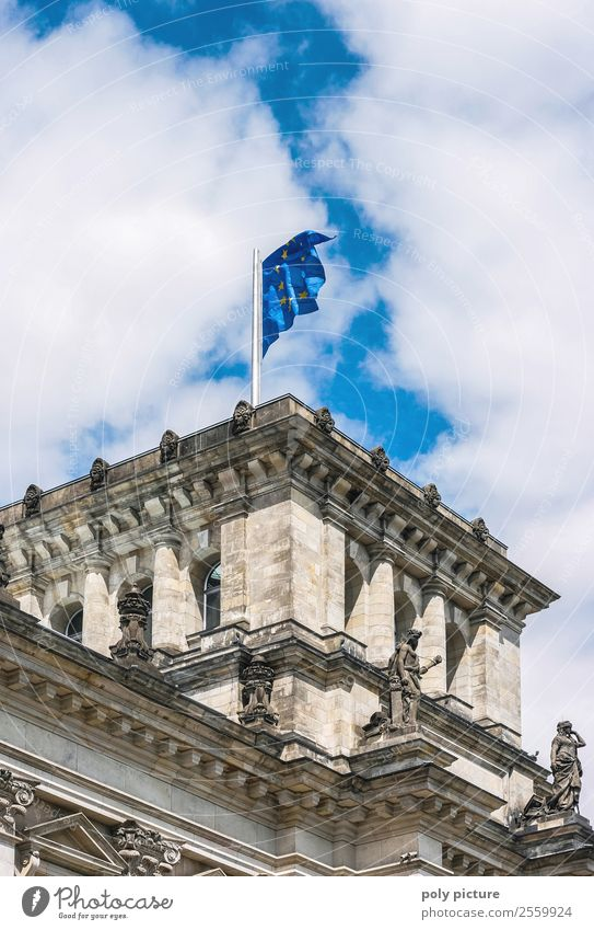European flag at the Bundestag Sky Clouds Weather Beautiful weather Berlin Town Capital city Downtown Old town Manmade structures Building Architecture