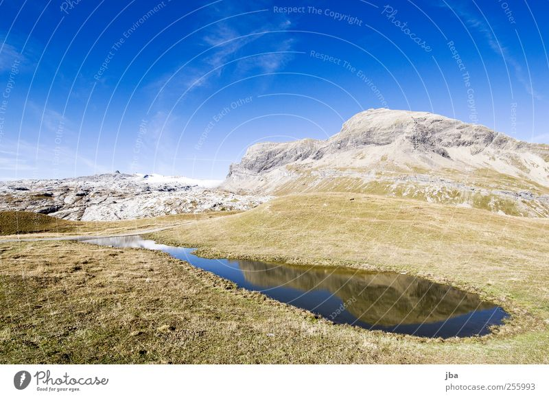 mountain lake Life Contentment Calm Trip Freedom Summer Mountain Hiking Nature Landscape Water Sky Autumn Beautiful weather Snow Grass Hill Rock Alps Glacier