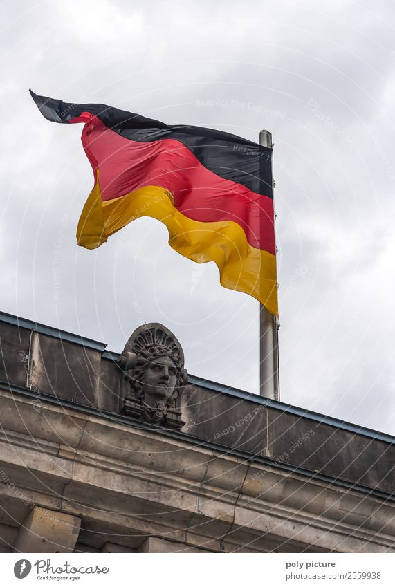 German flag at Reichstag in Berlin Capital city Downtown Equal Identity Uniqueness Politics and state Symbol of the state Germany German Flag Blow