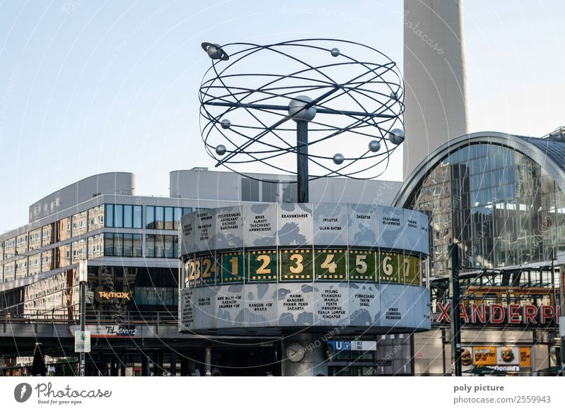 Urania World Time Clock Berlin Alexanderplatz Tourism Sightseeing Summer vacation Sky Cloudless sky Beautiful weather Town Capital city Downtown