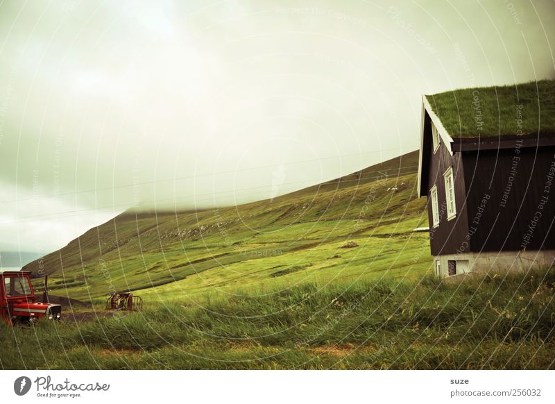 barn Far-off places Island Mountain House (Residential Structure) Environment Nature Landscape Clouds Storm clouds Climate Weather Fog Grass Meadow Rock Coast