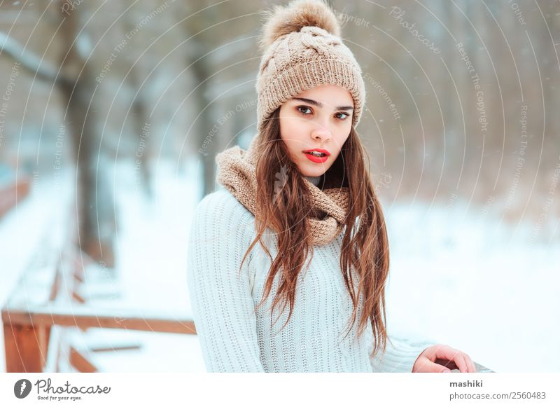 winter close up outdoor portrait of beautiful young woman Woman Nature Vacation & Travel Joy Forest Winter Face Adults Natural Feminine Snow Style Fashion