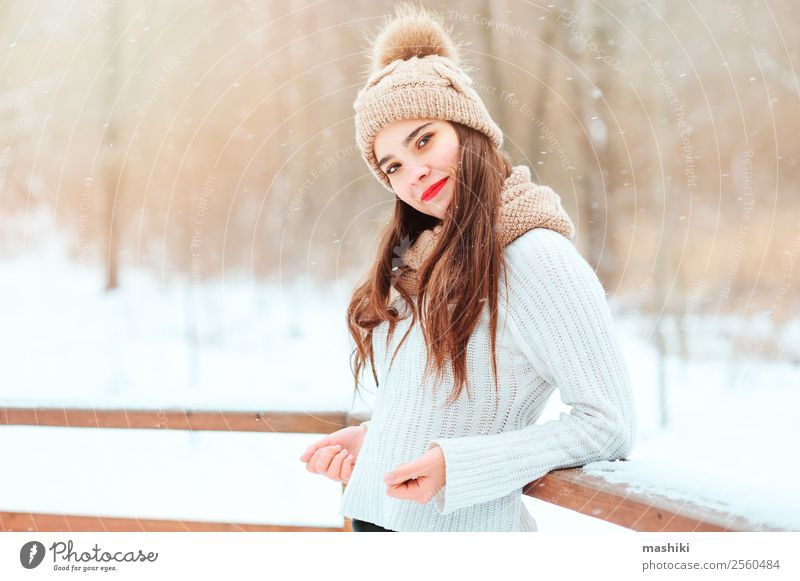 winter portrait of happy young stylish woman walking Woman Nature Vacation & Travel Tree Joy Forest Winter Face Adults Natural Feminine Snow Happy Style Fashion