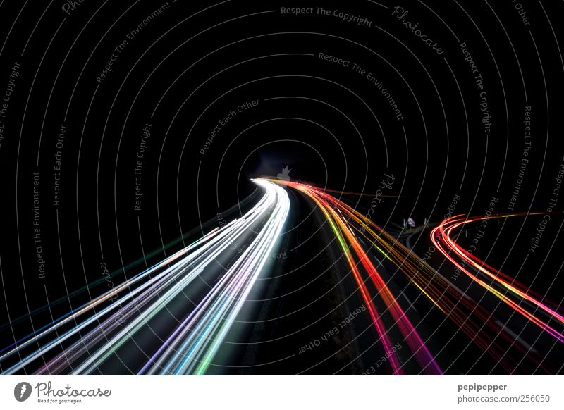 data highway Internet Transport Traffic infrastructure Road traffic Motoring Highway Vehicle Movement Illuminate Multicoloured Exterior shot Experimental