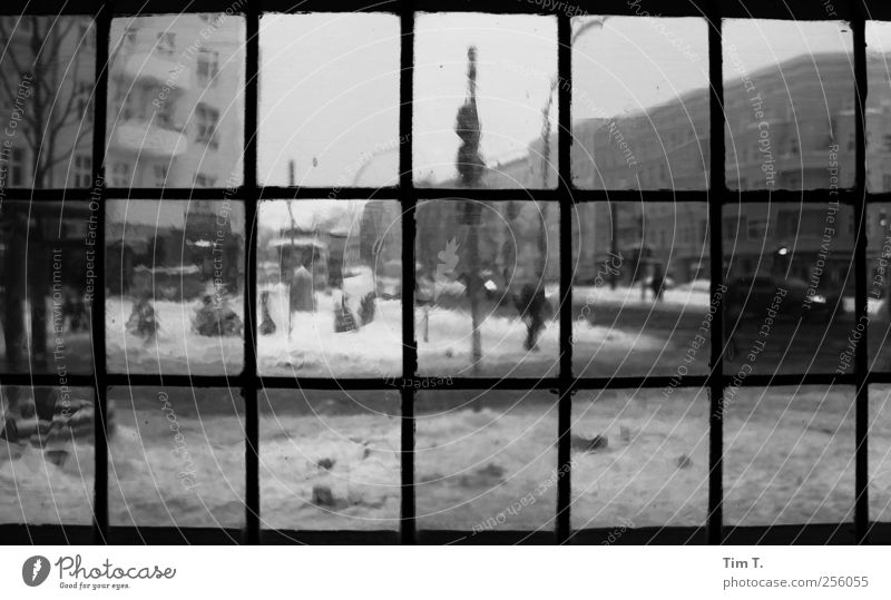 City Winter House (Residential Structure) Window Berlin Snowfall Germany Downtown Capital city Old town Roadhouse Prenzlauer Berg Bullseye pane
