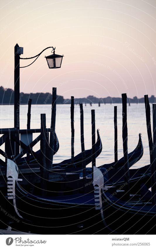 Ocean Art Watercraft Adventure Esthetic Romance Idyll Italy Jetty Venice Remote Port City Sea water Gondola (Boat) Italian City trip