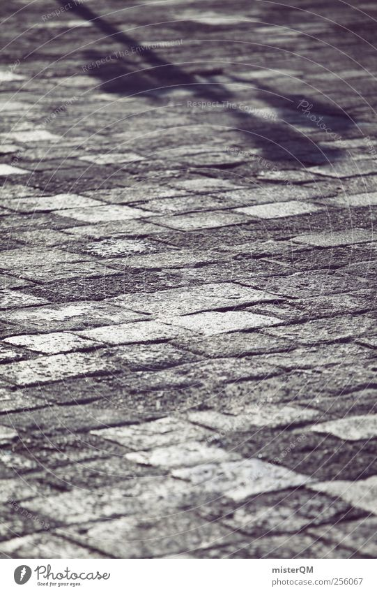 Plaster shadow. Art Esthetic Venice Veneto Ground Paving stone Shadow play Shadowy existence Indifference Perspective Ground level Colour photo Subdued colour