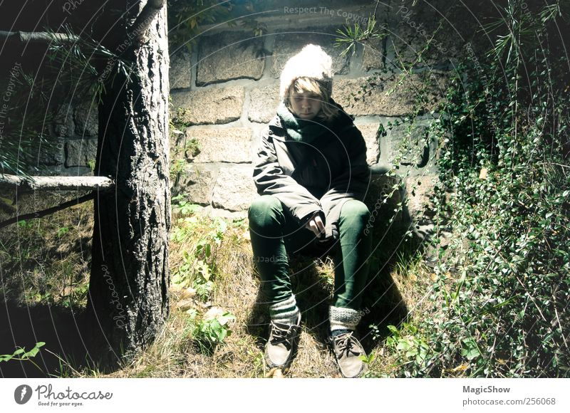Lost in a forest - Lost in the forest Young woman Youth (Young adults) 1 Human being 13 - 18 years Child Nature Tree Forest Wall (barrier) Wall (building) Cap