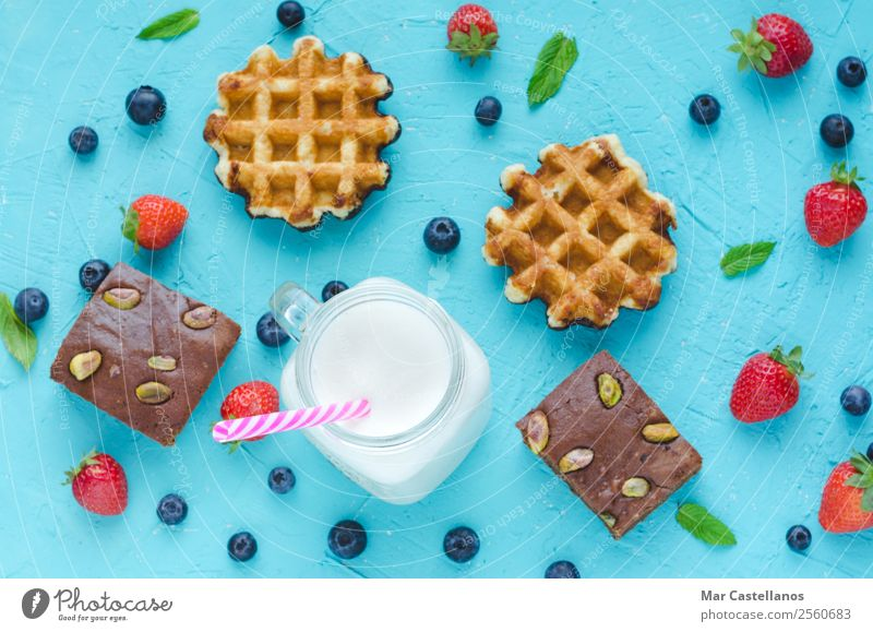 Waffles, brownie and smoothie with red berries. Blue Green White Red Leaf Brown Fruit Fresh Delicious Baked goods Breakfast Still Life Berries Lunch Snack