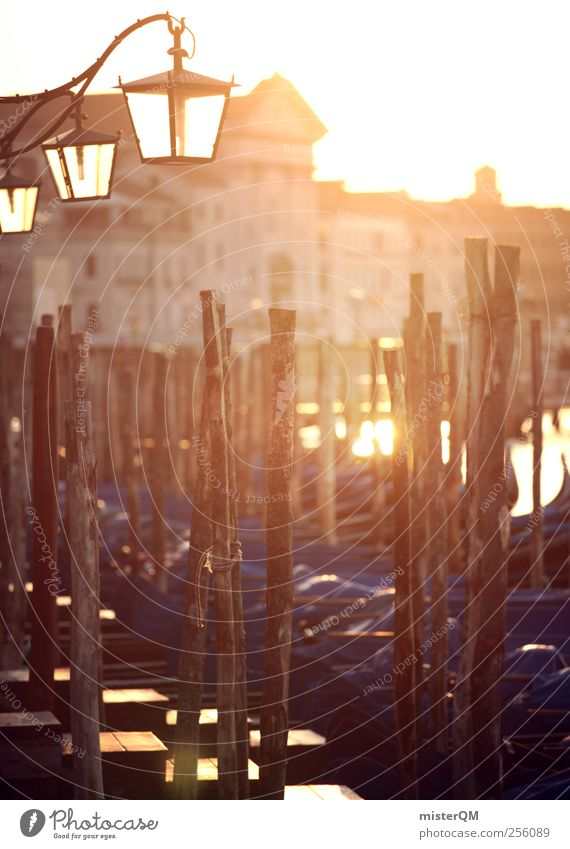 Morning gold. Art Esthetic Venice Veneto Gondola (Boat) Port City Orange Blue Lamp Lantern Footbridge Jetty Ocean Baroque Idyll Lure of the big city Gold