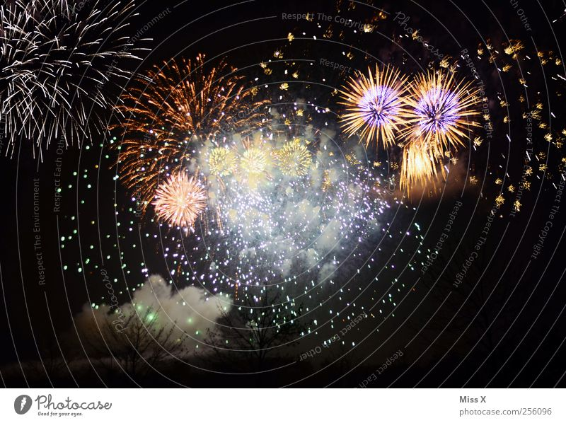every year Feasts & Celebrations New Year's Eve Multicoloured Firecracker Crash Bright Flash Colour photo Exterior shot Experimental Pattern Deserted Night