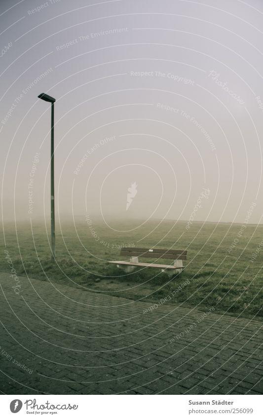 Meadow Landscape Fog Stand Bench North Sea Lantern Footpath Haze Spiekeroog Dike Sea of fog Wall of fog