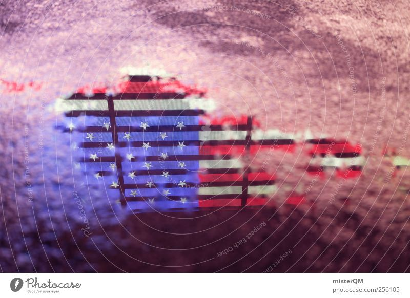 Blue Street Art Tourism Esthetic USA Asphalt Flag Americas American Flag Work of art Puddle Crisis System Logo Abstract