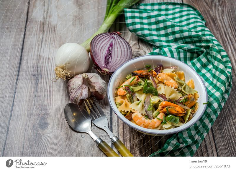 Green tagliatelle with seafood Food Seafood Vegetable Bread Nutrition Lunch Italian Food Plate Fork Table Gastronomy Mussel Delicious Above Sour Tagliatelle