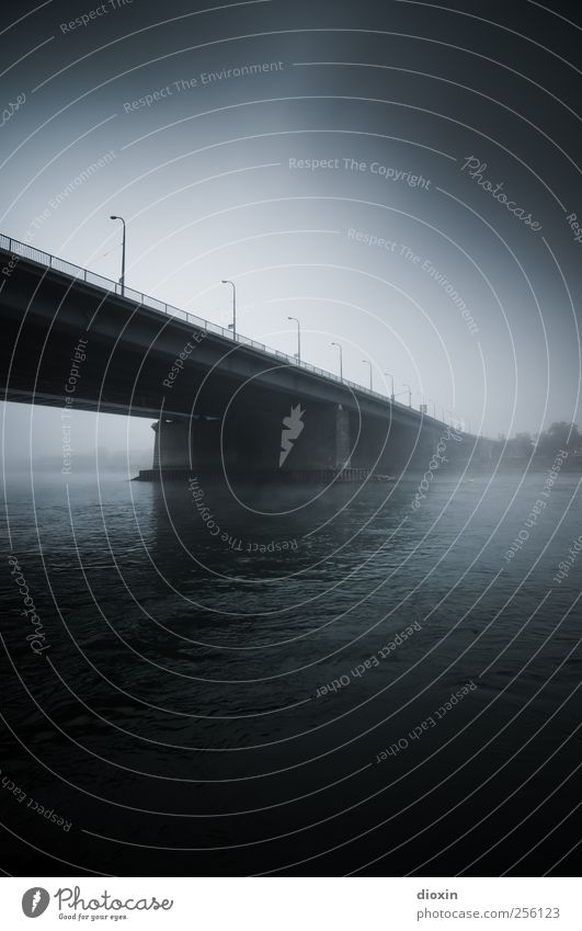 On the other side of the river [1] Water Sky Bad weather Fog River bank Rhine Mannheim Bridge Manmade structures Architecture Traffic infrastructure Street Dark