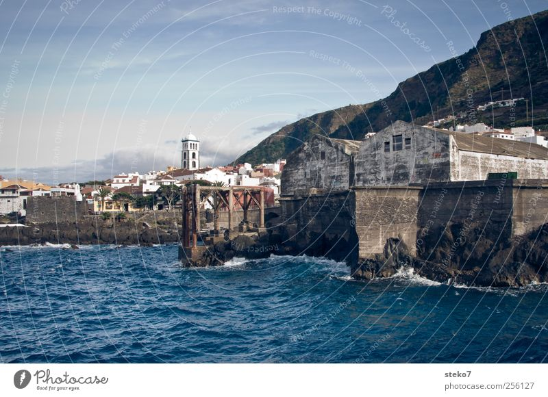 Garachico Sky Summer Mountain Coast Ocean Village Fishing village Industrial plant Harbour Old Town Blue Tenerife Colour photo Exterior shot Deserted