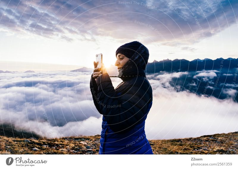 Sunrise | Selfie | Alps Leisure and hobbies Vacation & Travel Trip Adventure Freedom Mountain Feasts & Celebrations Young woman Youth (Young adults)