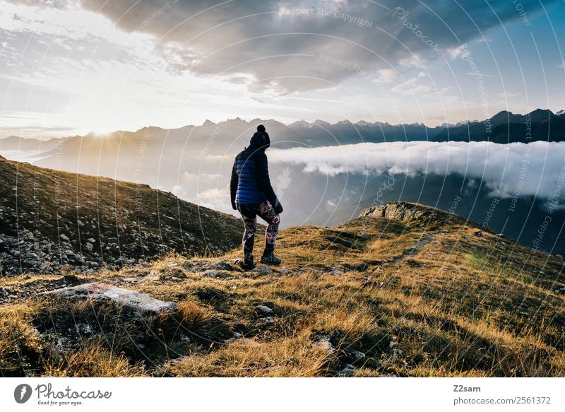 Sky Nature Vacation & Travel Youth (Young adults) Young woman Landscape Relaxation Clouds Mountain Adults Feasts & Celebrations Freedom Trip Hiking Horizon