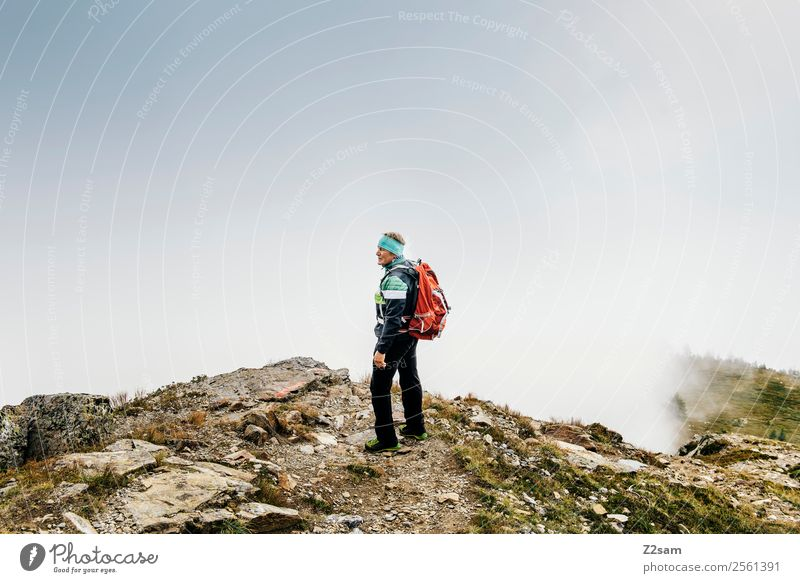 Nature Man Landscape Calm Mountain Adults Autumn Senior citizen Hiking Fog Power 60 years and older Stand Adventure Perspective Dangerous