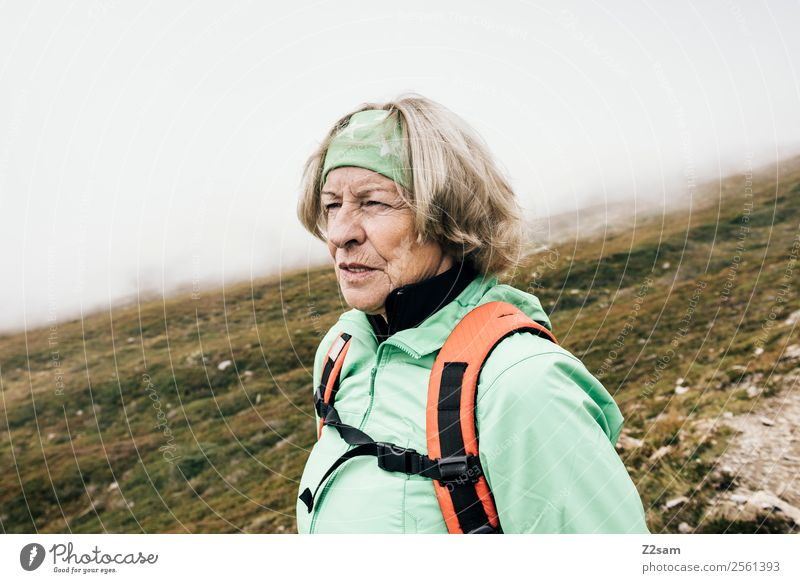 Woman Nature Vacation & Travel Old Landscape Mountain Healthy Adults Autumn Senior citizen Feminine Feasts & Celebrations Leisure and hobbies Hiking Fog Modern