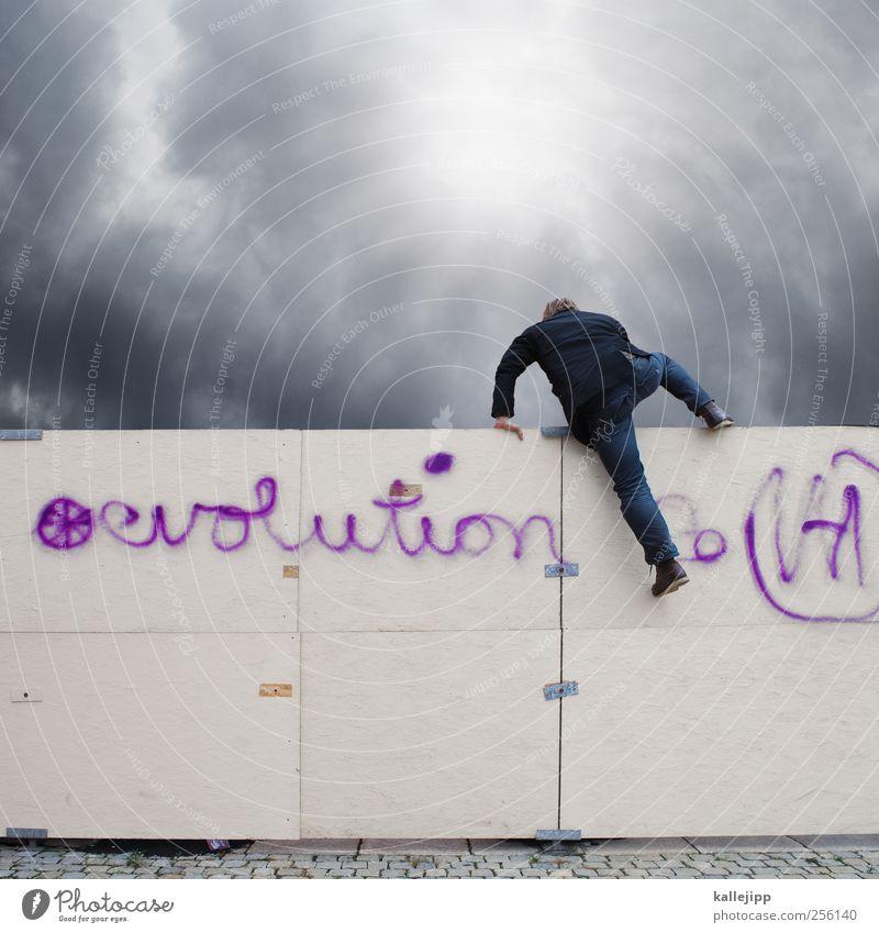 next level Human being Masculine Man Adults Life 1 Discover Evolution Climbing Fence Barrier Development Advancement Graffiti Biology Past Futurism Success