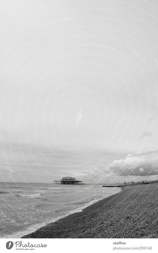 beach holiday Sky Clouds Waves Coast Beach Ocean North Sea Brighton England Vacation & Travel To go for a walk Swimming & Bathing Pebble beach
