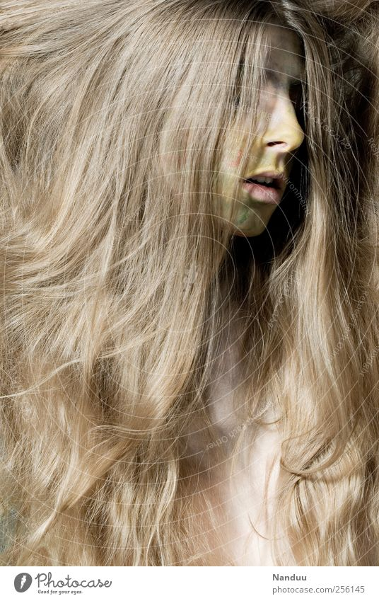 and the serenity of a tree Human being Feminine Hair and hairstyles 1 Esthetic Long-haired Painted Make-up Beauty Photography Blonde Own Colour photo