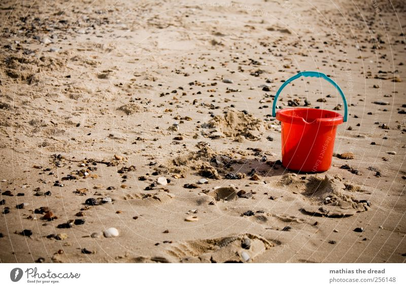 DENMARK - XL Environment Nature Landscape Sand Water Summer Beautiful weather Beach North Sea Stone Red Muding Bucket Toys Toddler Loneliness Motionless Damp