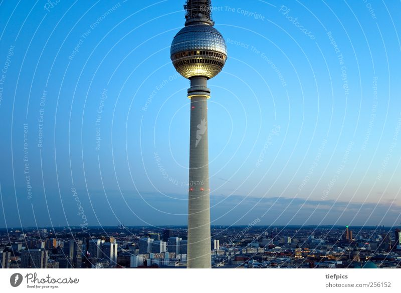 berlin seen from a bird's eye view Sightseeing Television Horizon Skyline High-rise Dome City hall Tourist Attraction Air Traffic Control Tower Flying Blue Red