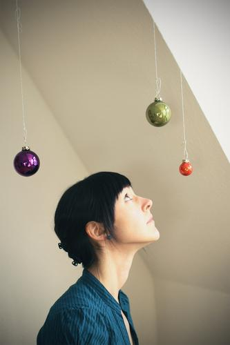 °°° Feminine Young woman Youth (Young adults) Woman Adults 1 Human being 18 - 30 years Black-haired Christmas decoration Glitter Ball Sphere Looking Blue Green