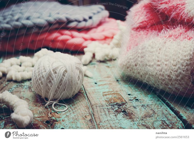 Still life of different types of wool Winter Dark Warmth Autumn Wood Natural Fashion Leisure and hobbies Retro Authentic Clothing Idea Change Soft New