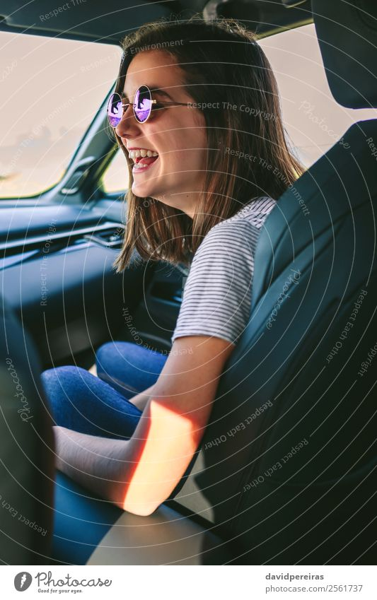 Girl laughing in the car Lifestyle Joy Happy Beautiful Leisure and hobbies Vacation & Travel Trip Human being Woman Adults Coast Transport Vehicle Car