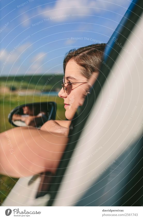 Girl leaning on window of the car Lifestyle Happy Beautiful Face Relaxation Calm Vacation & Travel Trip Summer Child Human being Woman Adults Arm Transport