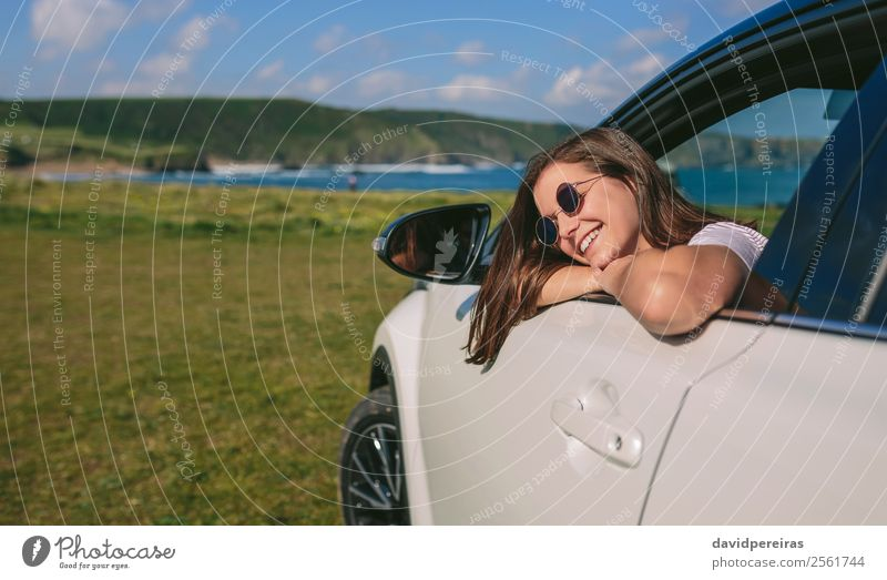 Girl leaning on window of the car Lifestyle Happy Beautiful Face Relaxation Calm Vacation & Travel Trip Summer Human being Woman Adults Arm Coast Transport