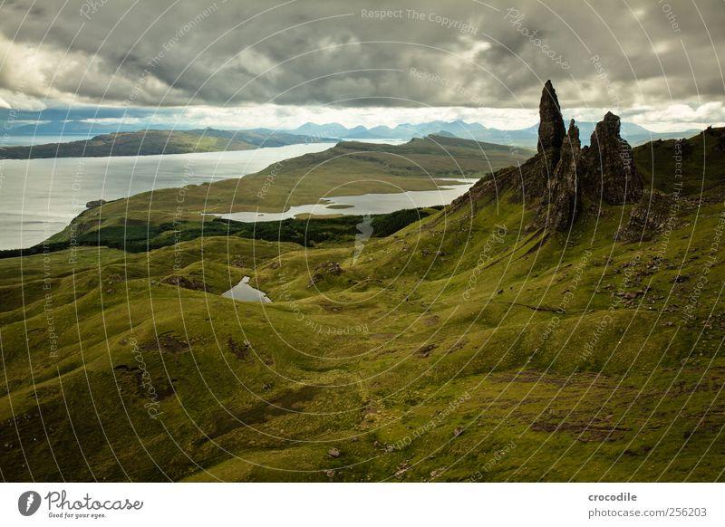 old man of storr Environment Nature Landscape Elements Bad weather Rain Meadow Hill Rock Mountain Coast Ocean Atlantic Ocean Island Isle of Skye Deserted Stone