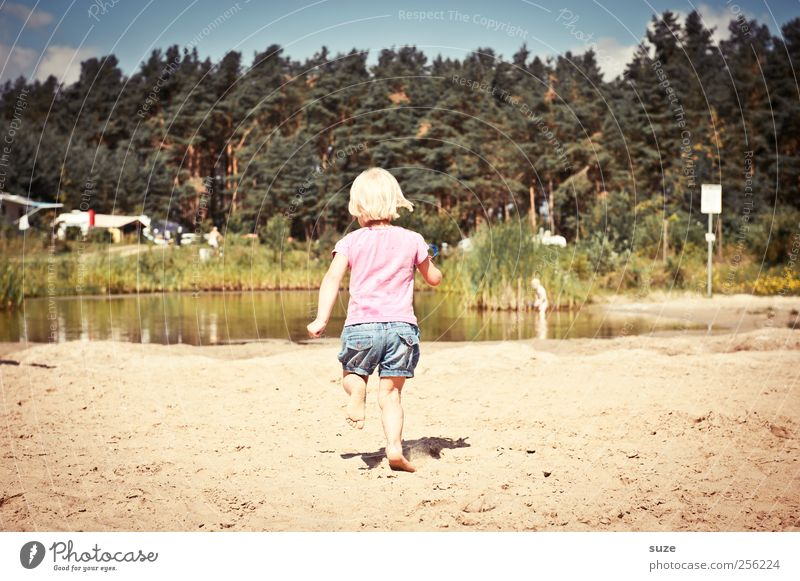 Human being Child Sky Nature Tree Vacation & Travel Summer Beach Environment Meadow Playing Sand Small Lake Infancy Blonde