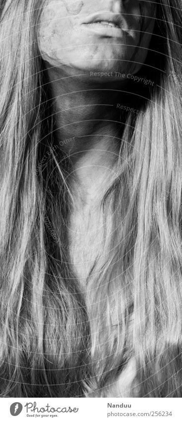 Human being Adults Feminine Hair and hairstyles Esthetic 18 - 30 years Long-haired Painted Black & white photo Ecstasy