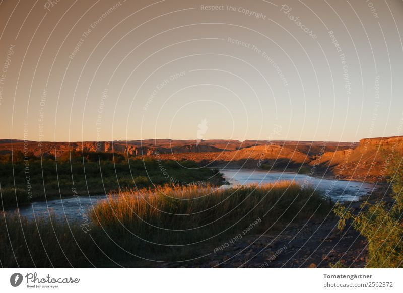 Orange River in Africa Landscape Water Sky Sunrise Sunset Summer Grass River bank Deserted Moody Adventure Freedom Nature Vacation & Travel Subdued colour