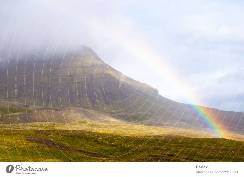 Rainbow on Iceland IV / IV Environment Nature Landscape Elements Air Water Climate Beautiful weather Mountain Europe Illuminate Esthetic Exceptional Blue