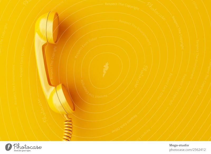 3d Vintage phone reciever on yellow background. Telecommunications Business To talk Telephone Technology Plastic Line Old Communicate