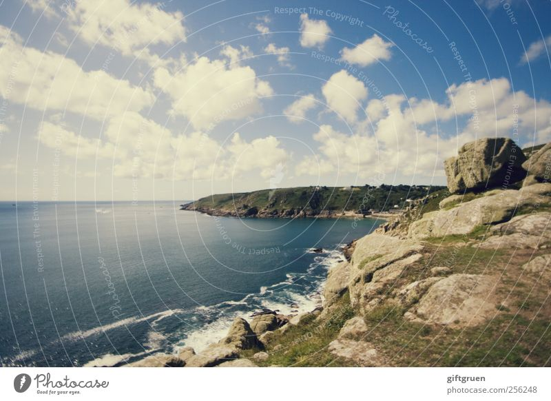 Sky Nature Water Ocean Summer Clouds Far-off places Environment Landscape Coast Stone Waves Horizon Earth Rock Natural