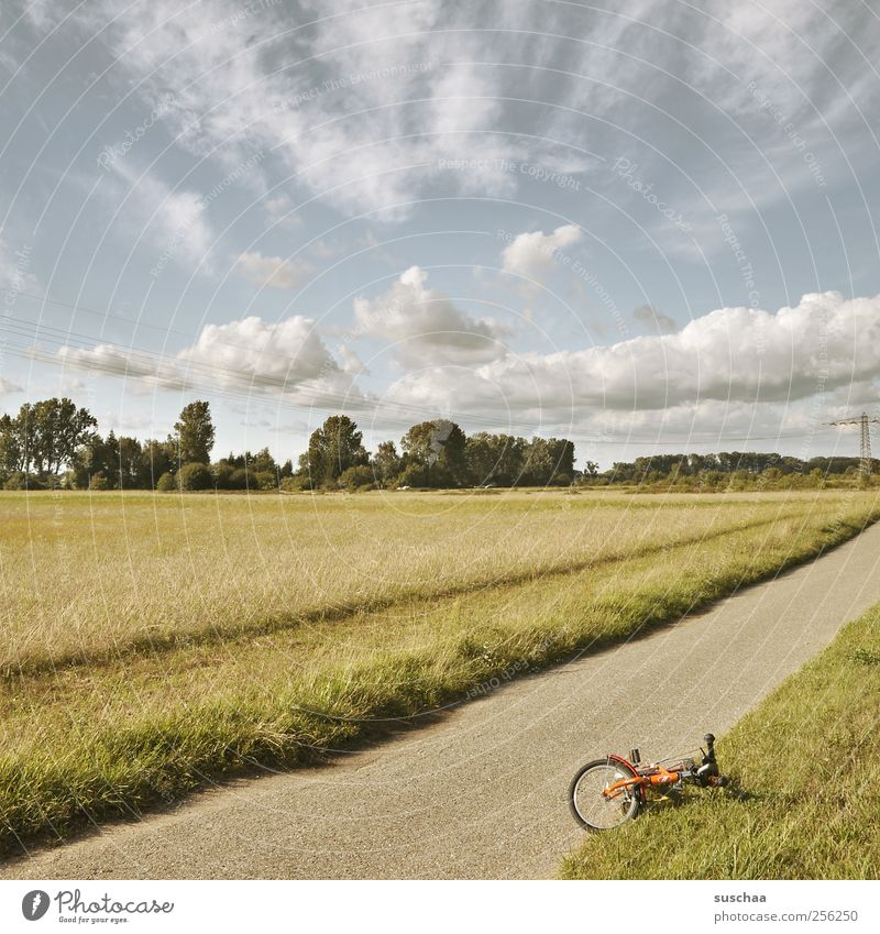 find something better ... Environment Nature Landscape Sky Clouds Summer Climate Beautiful weather Field Lanes & trails Bicycle Wayside Wheel Colour photo