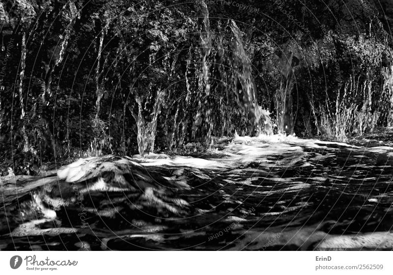 Water Running Off Lava Cliff into Ocean Black and White Close Up Design Nature Rock Wet water drips run off Consistency Dramatic background Flow powerful